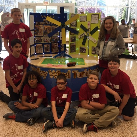 Valley Elementary Wind Turbinators with their turbine at the Kidwind competition at Dabney S. Lancaster Community College on April 8, 2017.
